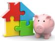 Puzzlehaus und Sparschwein