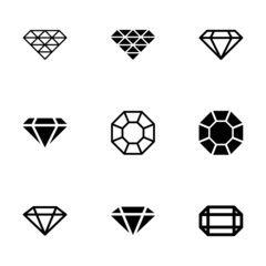 Vector black diamond icon set
