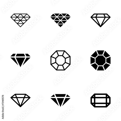 Vector black diamond icon set - 73461578