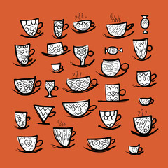 Set of ornate mugs. Sketch for your design