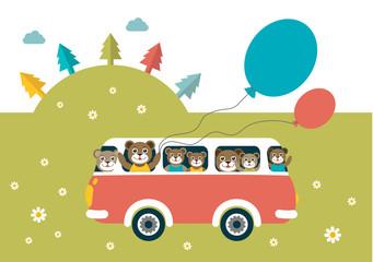 Kids theme. Bus with happy bears.