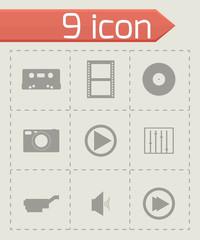 Vector black media icons set