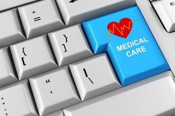 Krankenpflege als Symbol auf Tastatur