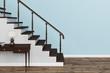 canvas print picture - Treppe vor Wand in einem Haus