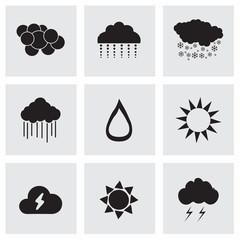 Vector black weather icons set