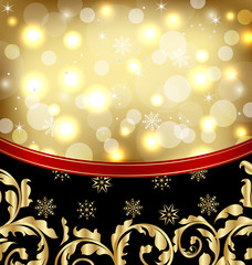 Christmas ornamental golden background or holiday packing