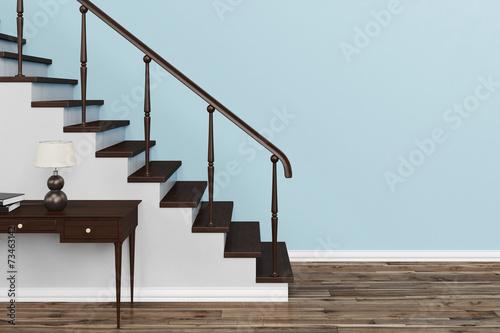 canvas print picture Treppe vor Wand in einem Haus