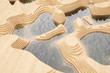 canvas print picture - Abstrakte Landschaft mit Bergen aus Holz