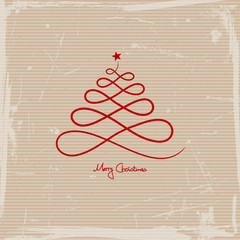 Abstract Christmas Tree Star Red Scratches Paper