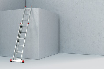Leiter auf Baustelle lehnt an Beton