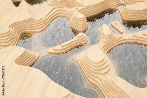 canvas print picture Abstrakte Landschaft mit Bergen aus Holz
