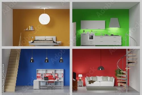 canvas print picture Wohnung mit vier bunten Räumen