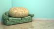Leinwanddruck Bild - Couch Potato On Old Sofa