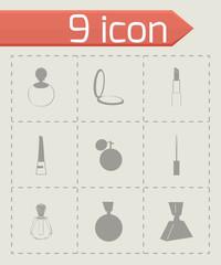 Vector cosmetics icons set