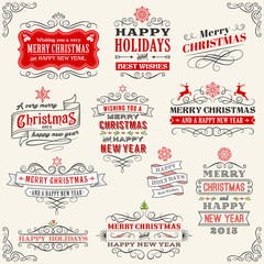 Vintage Vector Christmas labels