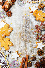 Christmas baking and christmas spices - copy space