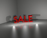 Sale Letters on reflecting surface, CGI rendering poster