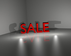 Sale Letters on reflecting surface, CGI rendering