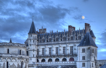 Amboise Castle with The Moon Above
