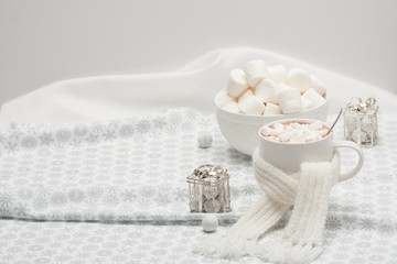Mug Of Hot Chocolate With Scarf. Marshmallows And Sweets. Christ