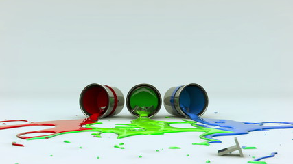 Inspiration text spills 3 pots of paint on the floor
