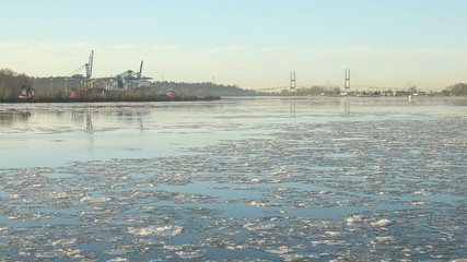 Flowing Fraser River Ice, British Columbia