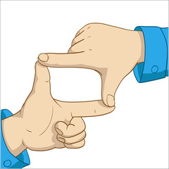 Cartoon hands frame
