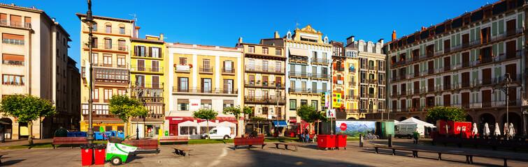 Panoramic view of Plaza del Castillo  in Pamplona