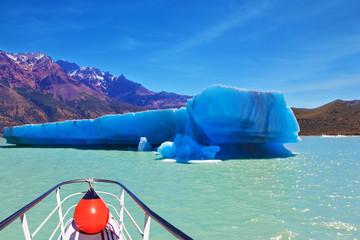The blue huge icebergs float