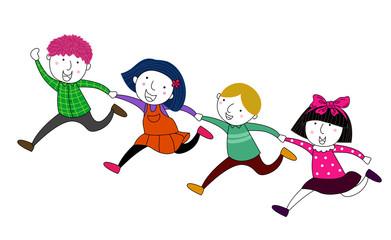 Four children running
