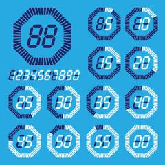 Octagon digital timer, lcd, vector Illustration