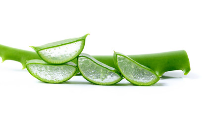 Fresh aloe vera leaves  on white background
