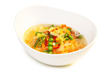 Minestrone soup isolated