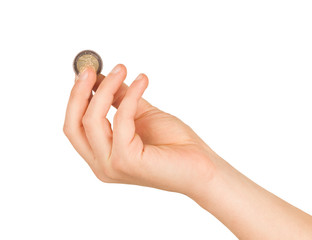 An Isolated image of Euro Coin in a hand