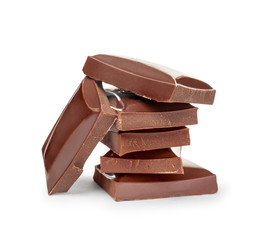 stack of dark chocolate isolated on white background