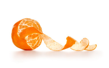Peeled tangerine or mandarin fruit isolated on white background