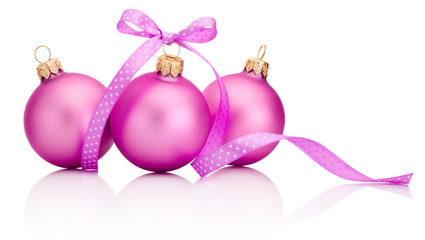 Three pink Christmas ball with ribbon bow Isolated on white back