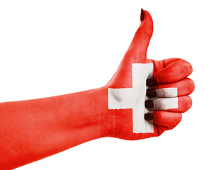 Flag of Switzerland on hand