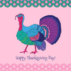 Colorful turkey on pink background
