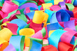 2015 New Year. Lot of paper serpentine, multicolored background.