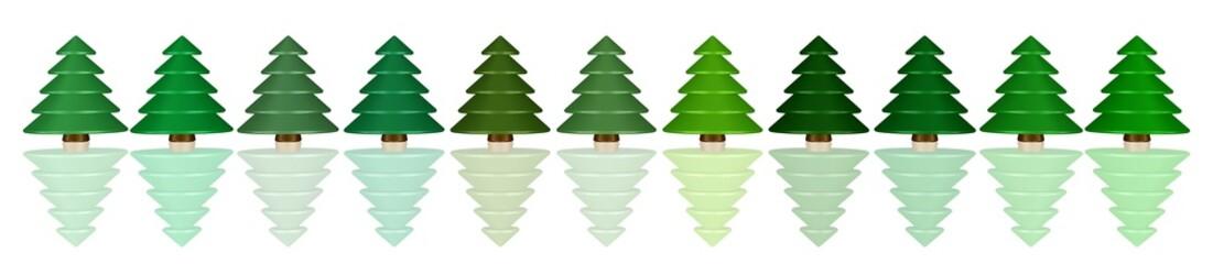 eine Reihe Spielzeug-Weihnachtsbäume