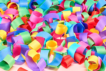 2015 New Year. Lot of colorful paper serpentine, background.