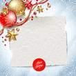 Paper banner for holidays message and Christmas decor on a snow