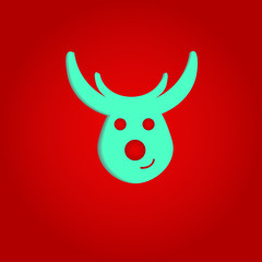 Nice deer  on the red background