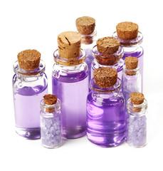 Bottles with shower gel and sea salt