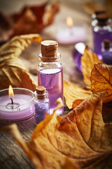 Spa still life with autumn leaves