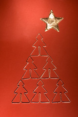Christmas background with christmas decoration in shape as tree