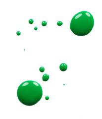 Blots of green nail polish