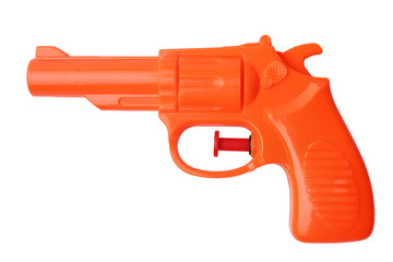 Orange plastic water pistol