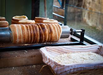 Traditional Czech street food (trdelnik pastry)